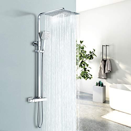 EMKE Duschsystem Regendusche mit Thermostat Mischer, Handbrause und höhenverstellbare Duschsäule Duschset, eckig 30x30cm Überkopfbrause, chrom