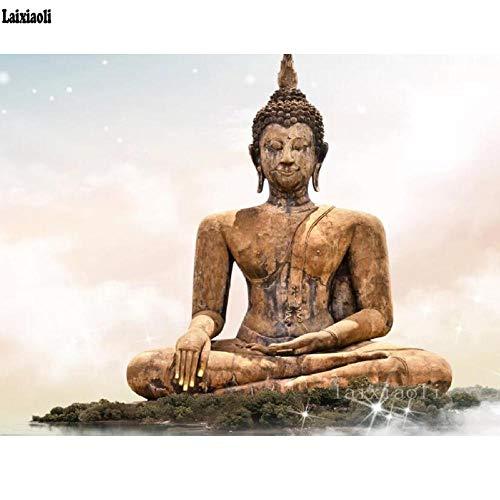 Bdhnmx Diamantmalerei 40x50Cm Vollbohrung Runder Buddha auf der Insel Brunnenfiguren Stickerei Kreuzstich Bild Dekor 5D Malerei Kits Rahmenloses Geschenk Erwachsene