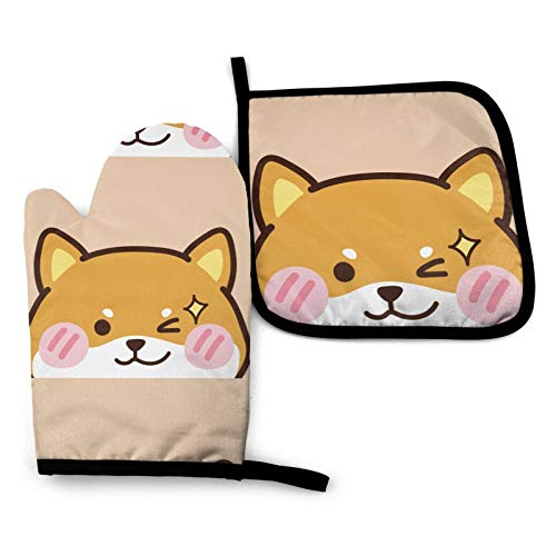 N/W Cute Face Head Shiba Inu Kitchen Oven Mitts and Pot Holders Sets of 2,Resistant Hot Pads,Flexible Cooking Oven Gloves for Microwave BBQ Cooking Baking Grilling