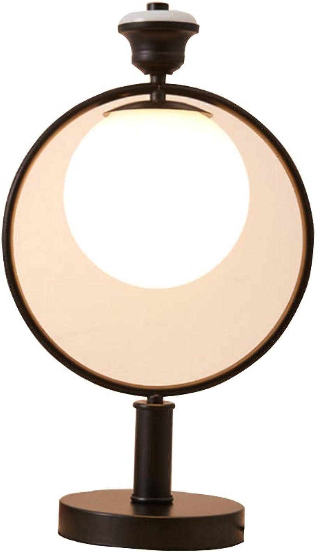 Retro Eisen-Kunst-Tischlampe Edelstahl Tischlampen LED-Nachttischlampe Metall Ring Nacht Licht Leuchte Leselampe Arbeitslampe Bürolampe Schreibtisch Lamper Hohlprofil Deko-Beleuchtung