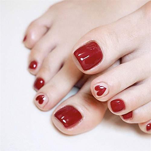 Yienate Uñas postizas para dedo del pie Chic Exquisito Amor rojo nupcial Uñas postizas para dedos de los pies Cubierta completa Puntas de uñas Uñas de pies 24 piezas