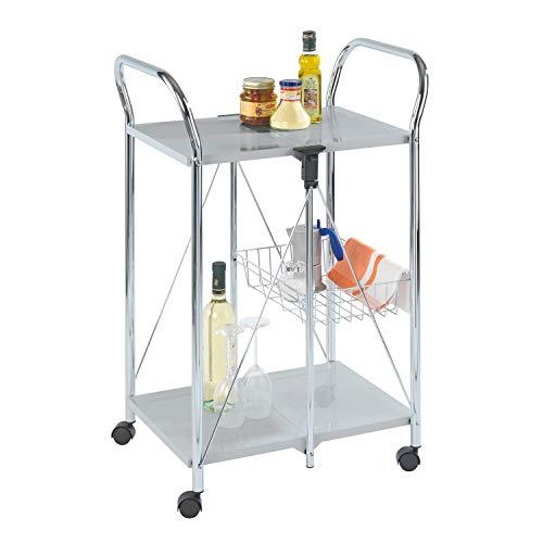 iDiffusion Sunny – Carro de cocina plegable – L 56 cm. Altura: 90 cm – Plata