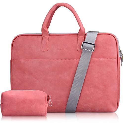 BOTRE 13-15.6 Pulgadas Bolso de Mujer Bandolera Ordenadores Multifuncional Maletín Hombre Funda para Portátil Macbook Air iPad Moda y Negocios (15.6pouces, Rojo)