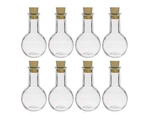 hocz Glasflaschen Set mit Press-korken | 8/12 teilig | Füllmenge 100 ml | Tulipano Korkverschluss Likörflasche Ölflasche Glasflasche (8 Stück)