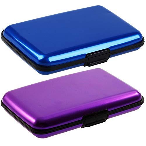 RFID Blocking porta carte di credito in alluminio antiurto Portafoglio Donna e Uomo Unisex Portafoglio Elegante Viaggi 2pz (Viola e blu)