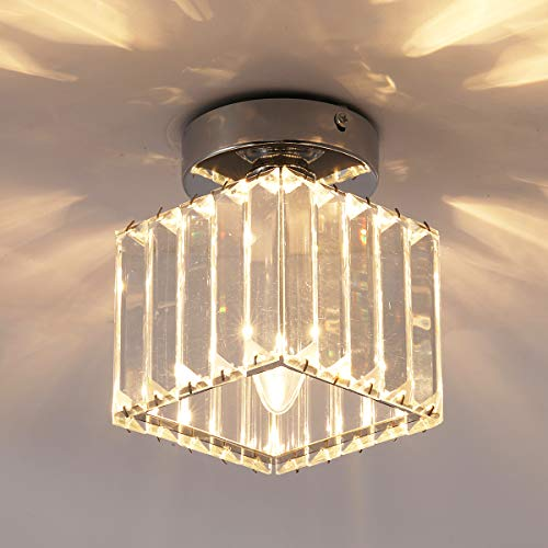 Jaycomey Ceiling Lamp,1-Light Crystal Pendant Lighting Fixtures,Close to Ceiling Light for Corridor,Hallway,Entryway,Bar,Chrome