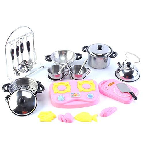 Batop Kinderküche Geschirr Set, 27 Stück Edelstahl Kochutensilien Set Küchenspielzeug für Kinder, mit Dampfgarer, Suppentopf, Schneidebrett usw
