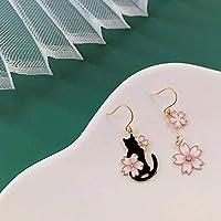 和風ジャンプ猫桜非対称ドリップオイル珐琅S925銀針かわいいイヤリング