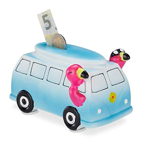 Relaxdays Bus Spardose mit Flamingos, Keramik, Schloss & Schlüssel, Urlaubskasse für Münzen & Scheine, Deko, blau/pink, 1 Stück
