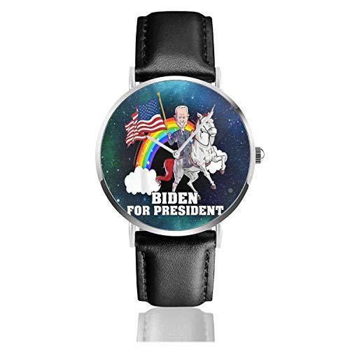 Relojes Anolog Negocio Cuarzo Cuero de PU Amable Relojes de Pulsera Wrist Watches Biden para el Presidente Uni-Corn Joe Biden 2020