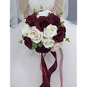 Abbie Home 9 inches Bridal Bouquet- Burgundy White Blooming Rose Real Touch Eucalyptus Wedding Flowers with Satin Ribbon Handle (Bouquet)