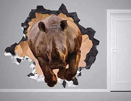 Wandtattoo Rhino Wild Wall Decal Zertrümmerte 3D-Aufkleber Dekorative Vinyl Animal Prairie Nature Weihnachtsgeschenk 50×70CM