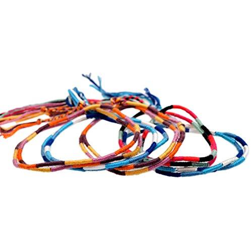 【HANDMADE BRACELET】5本セット 二重巻 ロング 幸せ ハンドメイド ブレスレット ミサンガ メンズ レディース フレンドシップ フェス アウトドア アンクレット ;AMMI-058