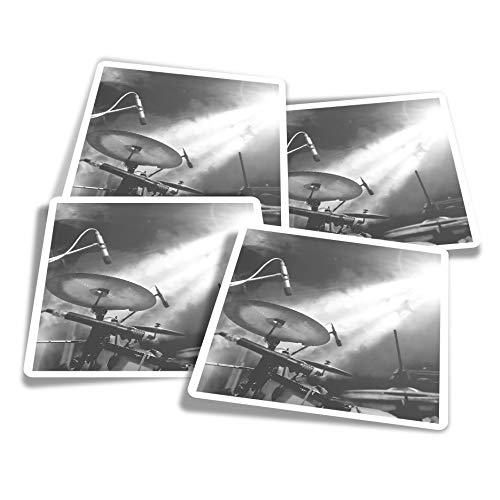 Pegatinas de vinilo (juego de 4) 10 cm – BW – Kit de batería banda musical concierto calcomanías divertidas para ordenadores portátiles, tabletas, equipaje, reserva de chatarra, frigoríficos #37410