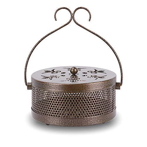 Retyion Portable Iron Mosquito Coil Holder with Handle Mosquito Incense Burner for Home and Camping (Bronze)