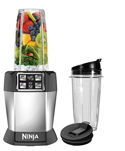 Ninja BL480D Nutri Ninja with 1000 Watt Auto-IQ Base for Juices, Shakes & Smoothies Personal Blender 18 and 24 oz. Black/Silver