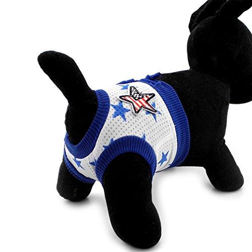 Ranphy 犬用サニタリーパンツ マナーパンツ 生理用パンツ 星柄 ソフト オムツカバー メス 小型犬 猫用 おむつカバー ケアパンツ 安心パンツ 衛生 月経 発情期 介護用 ドッグウェア オシッコ対策 ブルー XL