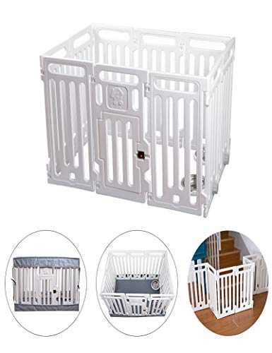 VATO White Transformable Playpen Panels, Three Functions, Pet Fence, Cage, Gate. Waterproof Cover and Mat, Build-in Basins, Waterproof, Dirt-Resistant, 9 Pieces Panels and one Door with Lock.