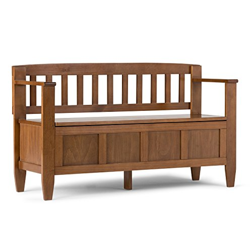 SIMPLIHOME Brooklyn SOLID WOOD 48 inch Wide Entryway Storage Bench with Safety Hinge, Multifunctional, Contemporary, in Medium Saddle Brown