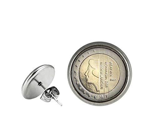 Xubu Vintage Coin Studs Oorbellen, Nederlands 2 Euro Omgekeerde zilveren munten oorbellen, Geschenken voor muntverzamelaars