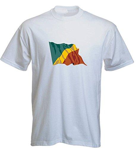 T-Shirt für Fußball LS40 Ländershirt L Mehrfarbig Congo - Kongo mit Fahne/Flagge - Fanshirt - Fasching - Geschenk - Fasching - Sportshirt Weiss
