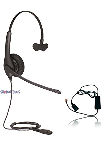 Global Teck Bundle w/Polycom Compatible Jabra BIZ 1520 Headset with Cord | SoundPoint Phones: IP450, IP500's, IP601, IP650, IP670, VVX 150, 250, 300's, 400's, VVX500, VVX600, VVX1500, CX300, CX600