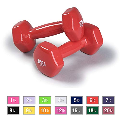 SPRI Deluxe Vinyl Dumbbells (Red, 6-Pound, Set of 2)