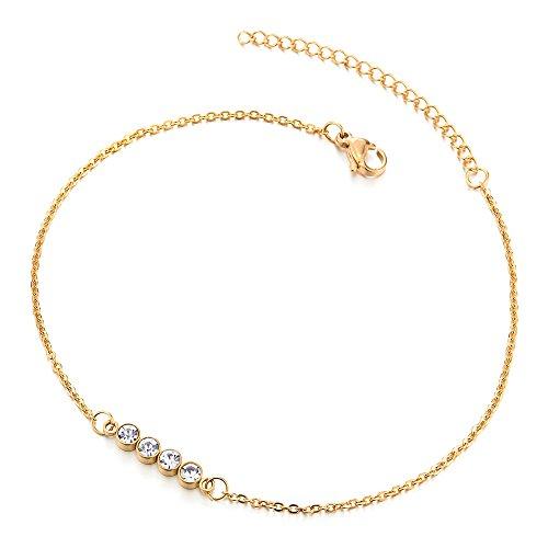 COOLSTEELANDBEYOND Acero Inoxidable Color Oro Tobillera para Mujer con Zirconio Cúbico Círculos, Ajustable