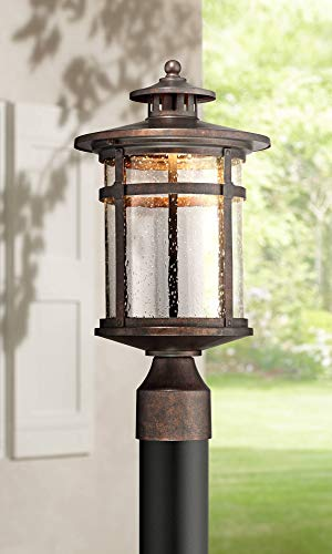 Callaway Mission Post Light Fixture LED Bronze 15 1/2' Seeded Glass for Deck Garden Yard - Franklin Iron Works