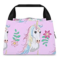 Cartoon Seamless Pattern Unicorn with Rainbow And 12 クーラーバッグ 弁当バッグ ランチバッグ 保温 保冷 手提餐包 大容量 軽量 防水 収納 通勤 通校 旅行 子供用 ランチベルト 前ポケット付き
