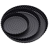 Grandwish Nonstick Pie Tin with Holes, 3-Pack Removable Round Pizza Tray (14/20/24cm)