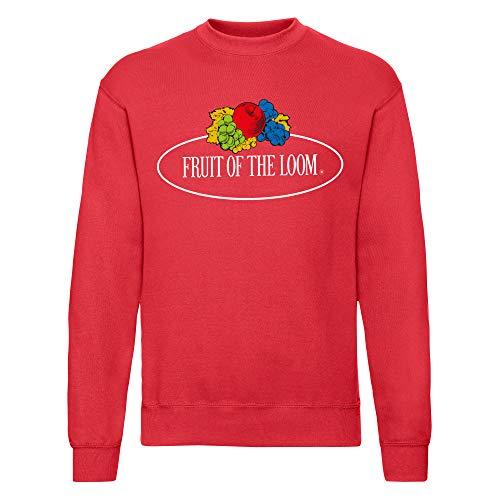 Fruit of the Loom Felpa da uomo, Rosso – Logo vintage grande, XL
