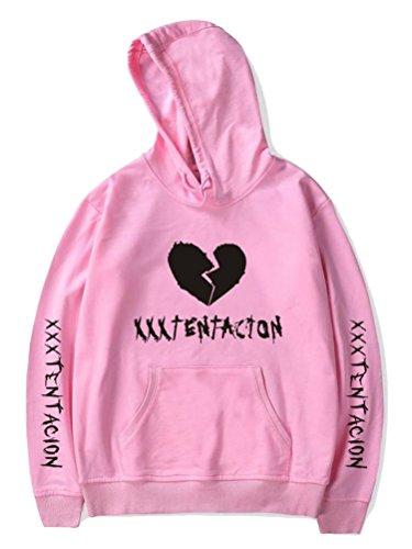 ShallGood Unisex Sudadera con Capucha Casual Hip Pop Rap Prints Broken The Heart Impresión Mujeres Hombres Hoodie Sweatshirt Tops A Rosa Large