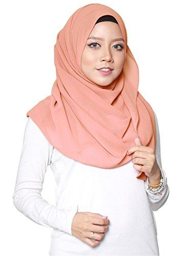 SAFIYA SAFIYA - Hijab Kopftuch für muslimische Frauen I Islamische Kopfbedeckung 75 x 180 cm I Damen Gesichtsschleier, Schal, Pashmina, Turban I Musselin / Chiffon - Lachsfarben