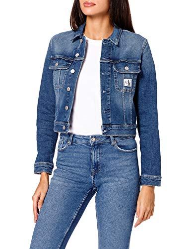 Calvin Klein Jeans Cropped 90'S Denim Jacket Chaqueta de Jean, Mezclilla Oscuro, Mujer