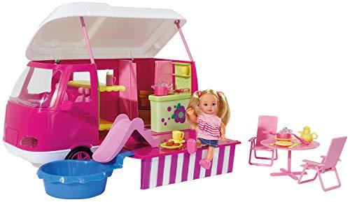 Simba Evi Love 105736221 Camper - Caravana de camping con 1 muñeca y accesorios (más de 20 piezas) [importado de Alemania]