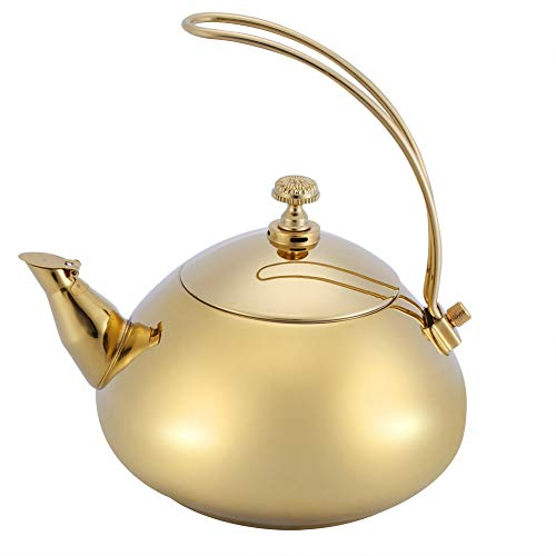Fdit 1.5L Edelstahl Wasserkocher Klassische Teekanne Schnelle Wasser Heizung Kochenden Topf MEHRWEG VERPACKUNG socialme-eu(Gold)