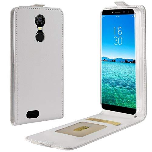 Sangrl Tasche Für Oukitel C8 3G/Oukitel C8 4G, Hohe Qualität PU Leather Flip Hülle Soft Texture up & Down Open Tasche Ledertasche Weiß