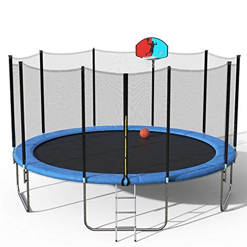 Rhythm Trampoline 16FT con Cubierta de Primavera Padding Caja de Seguridad Net & Ladder Basketball Hoop Actividad Exterior (Entrega Dentro de 7 días) (Color : Blue, Size : 12FT)