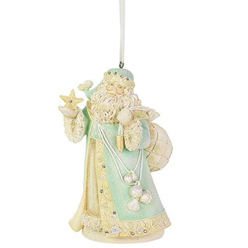 Enesco Heart of Christmas Coastal Santa Seaside Treasures Hanging Ornament, 4.45 Inch, Multicolor