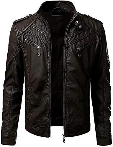 Tigmond - Chaqueta de piel de moda y elegante para hombre, piel auténtica y ajuste a medida, estilo retro del Reino Unido, ropa elegante casual y de fiesta, color negro Negro Negro ( XXXXXL