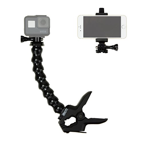 SIOTI Jaws Flex Clamp Mount with Adjustable Goose Neck and Cellphone Tripod Adapter Mount Compatible with GoPro Hero4 Session,Hero4,Hero3+,Hero3,Hero2,Hero Cameras and iPhone Samsung Most Smartphone