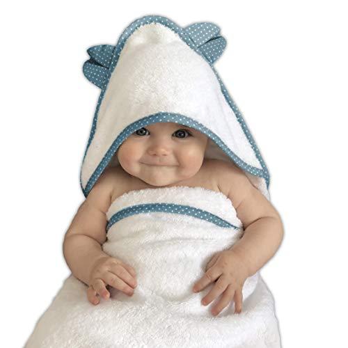 VABY – Babyhandtuch mit Kapuze, OEKO-TEX®, aus Baumwolle und Bambus, Kinderhandtuch extra groß, Frottee Kapuzenhandtuch mit Ohren, Baby Handtuch für Neugeborene, Junge und Mädchen (Türkis)