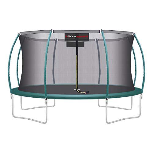 Ultrasport Unisex– Erwachsene 430 Gartentrampolin mit 430 cm Durchmesser, belastbar bis 150 kg, großes Outdoor Trampolin mit viel Platz und vielen Sicherheitsmerkmalen, Grün, 430cm (XL)