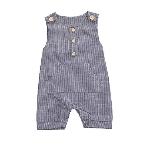 Newborn Infant Baby Boy Sleeveless Romper Striped Button Bodysuit Cotton Linen Jumpsuit One-Piece Outfit Clothes (Black, 0-3 Months)