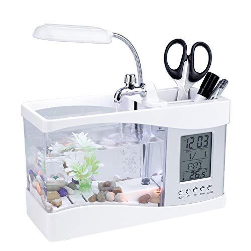 Lampe Ecran Mini Aquarium Multifonctionnel USB Rechargeable Bureau avec Fonction Horloge Température Lumière LED Stylo Conteneur Aquarium Ornements pour Maison et Bureau Décoration(Blanc)