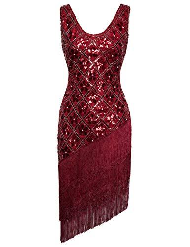 Coucoland sukienka z frędzlami w stylu lat 20. XX wieku cekinowa sukienka rycząca lata 20-te fantazyjna sukienka Gatsby kostium w serek dekolt vintage z koralikami sukienka wieczorowa
