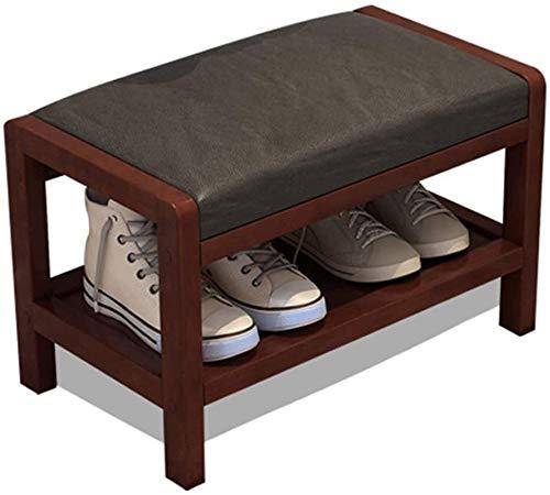 Zapatero con la PU del amortiguador de 1 planta como el estante de madera maciza Banco de zapatos Adecuado for el dormitorio sala de estar Sofá Corredor heces ( Color : Black , Size : 76x33x36cm )