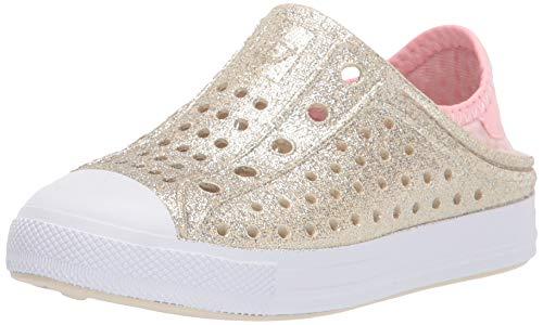 Skechers Girls Foamies Guzman Steps-Glitter Mist Water Shoe, Champagne, 10 Little Kid