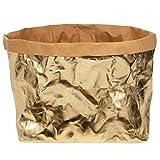 ONVAYA® Cesta de almacenamiento dorado/gris | caja decorativa | caja de regalo | imitación de piel | vegana | lavable | cesta de pan | almacenamiento de baño (oro, XXL)